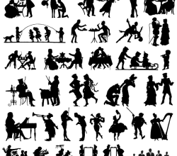 19th Century Silhouettes Vector Free