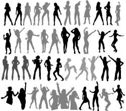 Dancing Girls Silhouettes Vectors