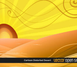 Vector Desert Sunset Scene