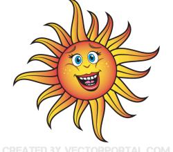 Vector Smiling Cartoon Sun