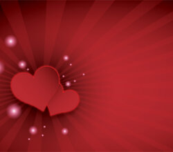 Happy Valentine's Day Red Hearts on Sunburst Background Design