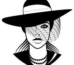 Beautiful Lady with Hat Vector Image