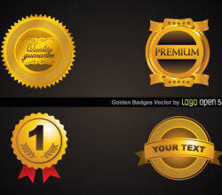 Golden Badges Free Vector
