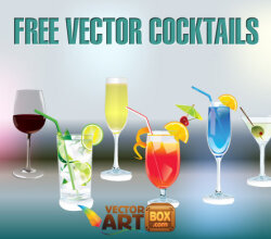 Cocktail Glasses Free Vector