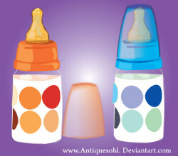 Vector Baby Milk Feeding Bottles