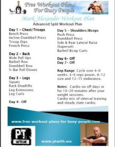 Printable complete bodybuilding routine also by celeb pt mark alexander rh free workout plans for busy people