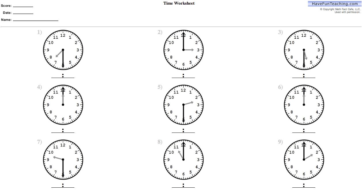 Printable Time Worksheets 2nd Grade
