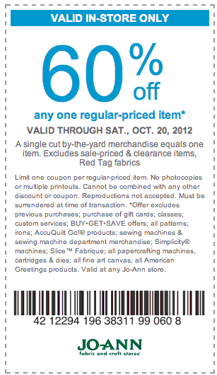 60 Off One Item At Joann Fabric Stores Expires Oct 20th