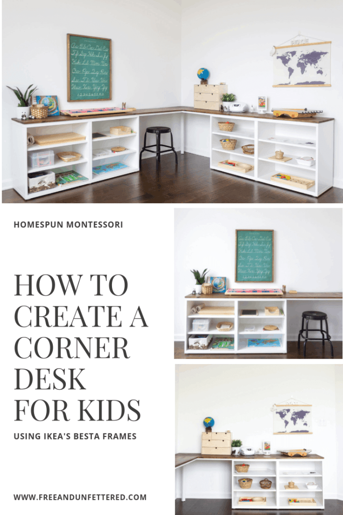 Two IKEA Besta frames are used to make a corner desk for kids in a Montessori-inspired schoolroom and playroom.