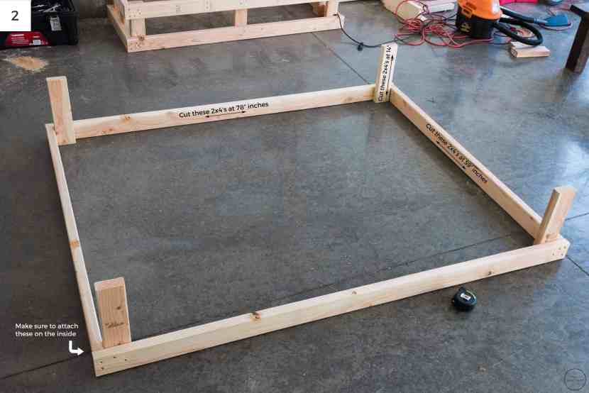 "Attaching (2) 2x4's at 78"" to (2) 2x4's at 59"" creates a box that is 78"" x 62"". An additional 4 14"" 2x4's were used to create the depth needed for the frame."