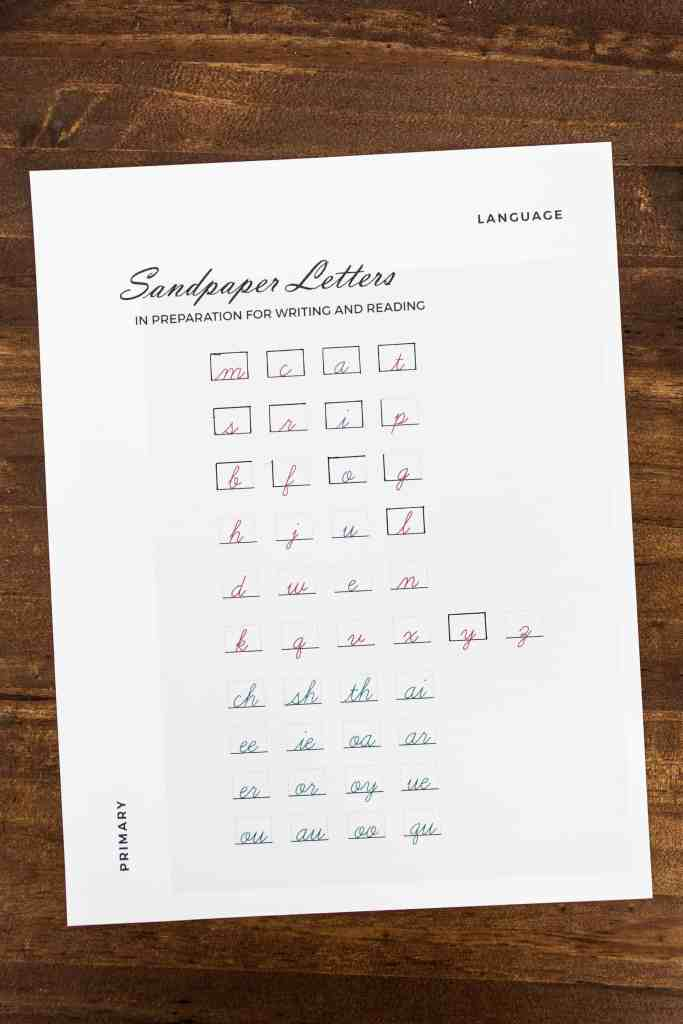 an introduction to letters progress sheet for Montessori planning and recordkeeping