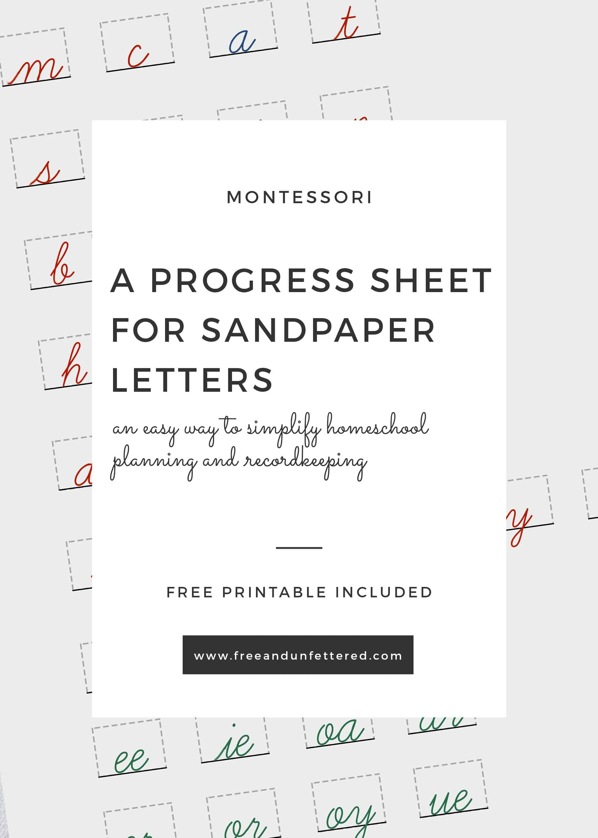 image relating to Free Printable Homeschool Record Keeping Forms called Adding Sandpaper Letters: A Totally free Improvements Sheet in the direction of