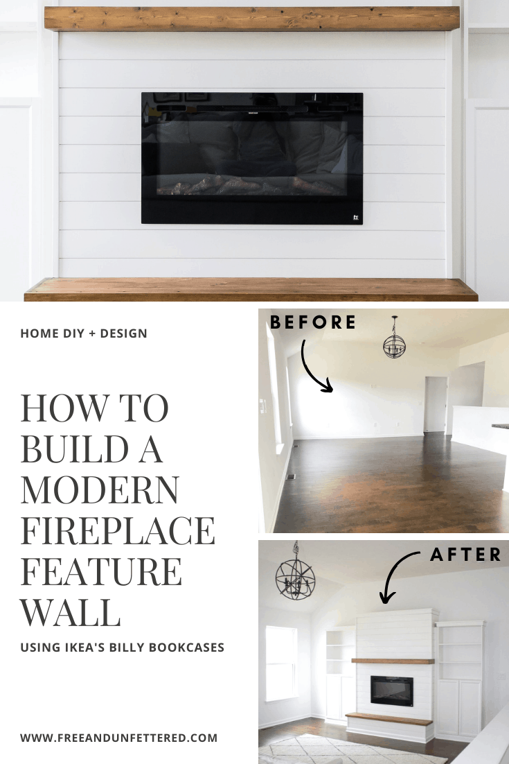 DIY: Modern Farmhouse Electric Fireplace with Built-In Bookshelves | Learn how to build a mantel and hearth for your home at www.freeandunfettered.com. #diy #modernfarmhouse #projectbuild #makingahouseahome