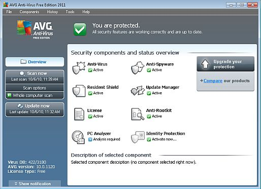 Free AVG 2011 Main Screen