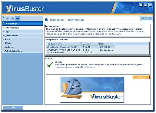 virusbuster 7 main screen