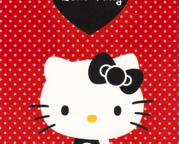 Black Hello Kitty with Red Dot Background