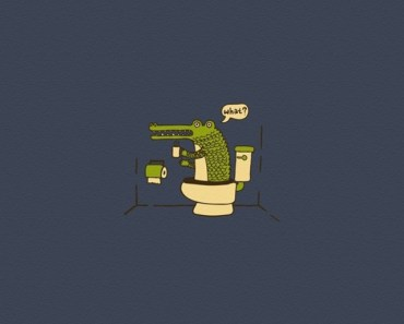 Cartoon Crocodile On The Toilet