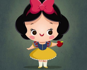 Cute Cartoon Girl with Ribbon Bow