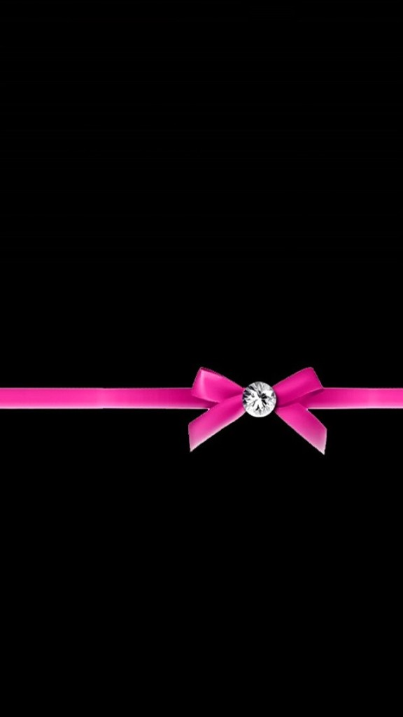 Diamond with Pink Ribbon Bow Wallpaper  Free iPhone Wallpapers