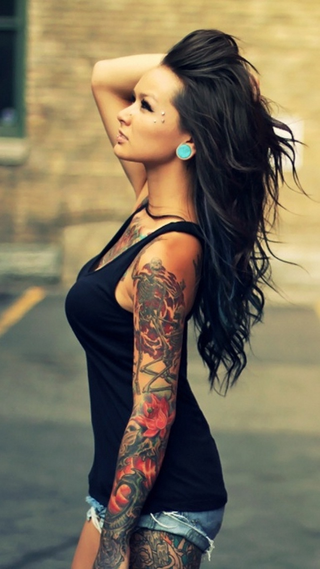 Tattoo Girl iPhone 6 / 6 Plus and iPhone 5/4 Wallpapers