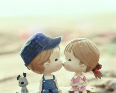 3D Cartoon Kids Kissing