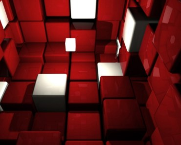 3D Red and White Space