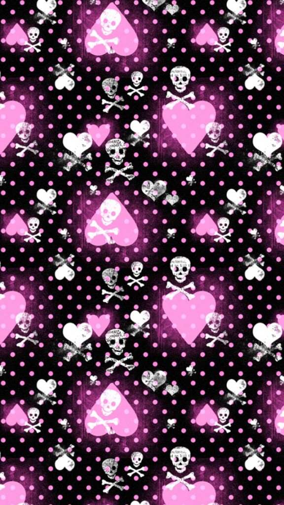 Cute Girly Wallpapers For Iphone 5c Pink Heart And Skull Patterns Wallpaper Free Iphone