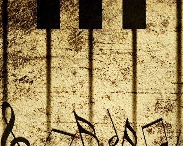 Vintage Piano Keys With Musical Notes