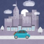 City and Car Illustration