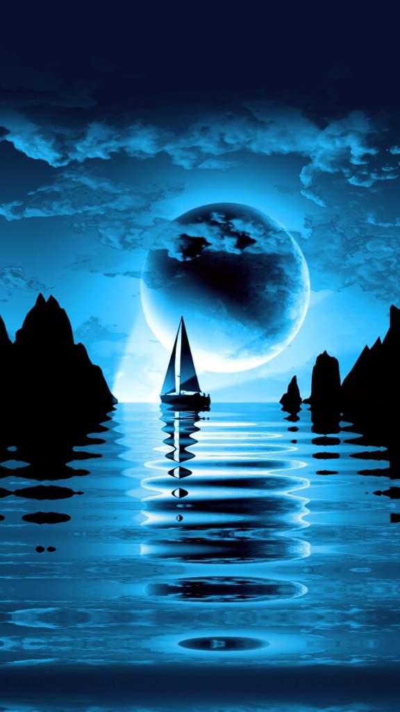 Iphone 4s Ios 7 Wallpaper Night Sea Landscape Wallpaper Free Iphone Wallpapers
