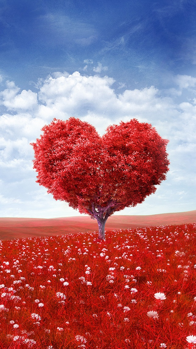 Iphone 4s Wallpapers Free Red Love Heart Tree Iphone 6 6 Plus And Iphone 5 4