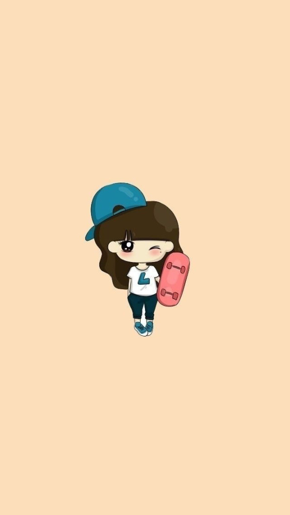 Cartoon Skateboard Girl iPhone 6 / 6 Plus and iPhone 5/4 Wallpapers