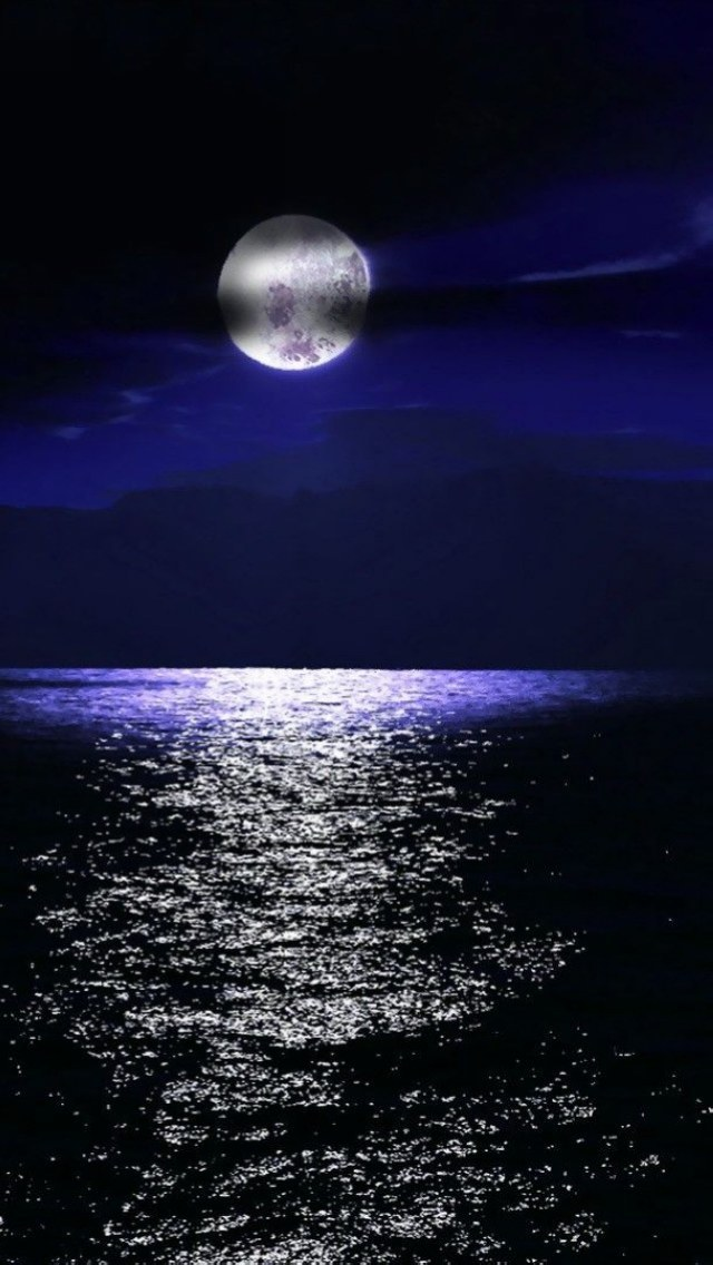 I Letter 3d Wallpapers Full Moon Over The Sea Iphone 6 6 Plus And Iphone 5 4
