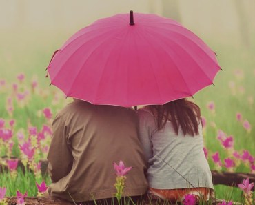 Lovers Under The Pink Umbrella