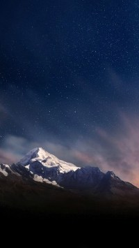 Snow Mountains Under The Starry Sky