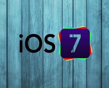 iOS 7 Logo with Wood Background