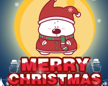 Cute Cartoon Bear Merry Christmas