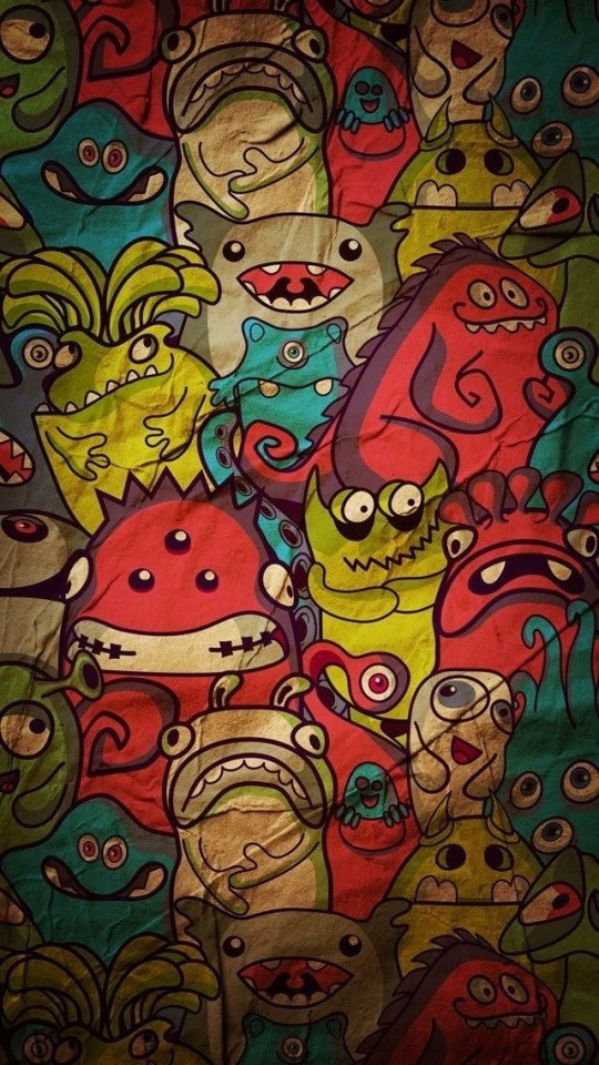 Cute Doodle Wallpaper For Iphone Cartoon Monsters Pattern Wallpaper Free Iphone Wallpapers