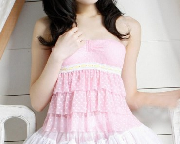Cute Asian Girl Pink Dress