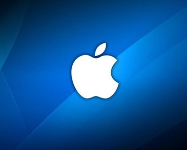 White Apple Logo with Blue Abstract Background