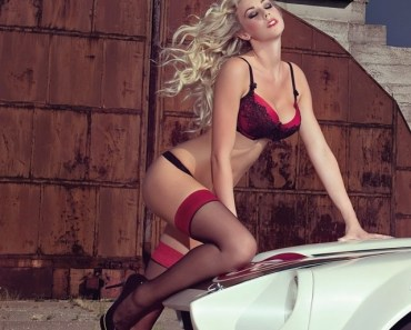 Blonde Girl with Black Stockings