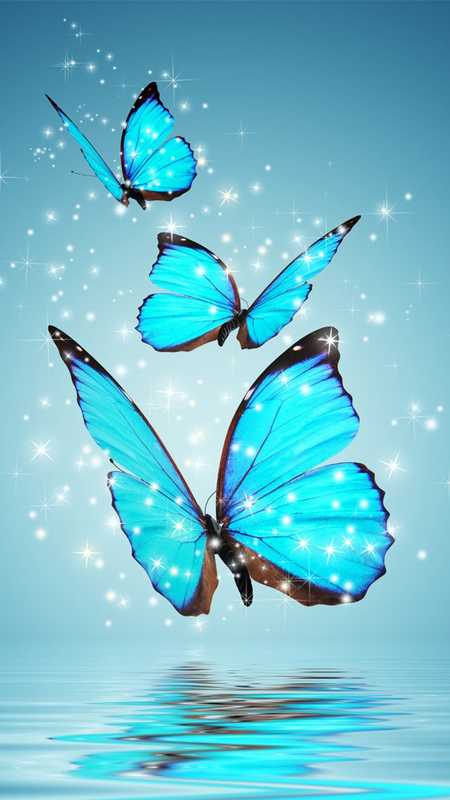 3d Wallpaper Parallax Free Blue Butterflies Iphone 6 6 Plus And Iphone 5 4 Wallpapers