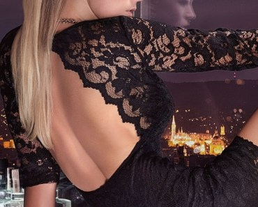Sexy Blonde with Black Lace Dress