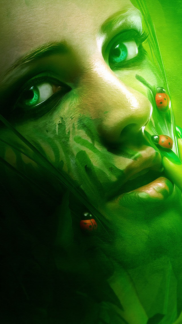 Green Fantasy Girl Wallpaper  Free iPhone Wallpapers