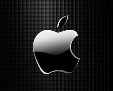 Sleek Apple Logo with Black Grid Background
