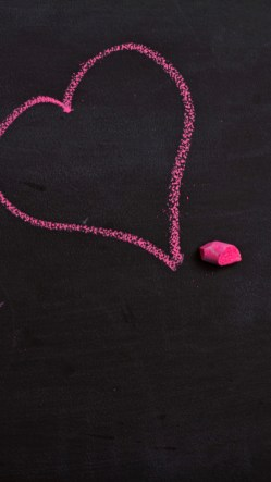 Pink Chalk Drawing Love Heart