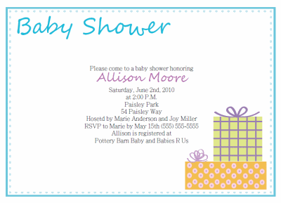 Baby Shower Invitation Text Template