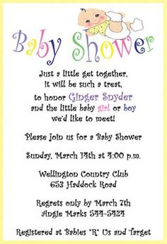 Getting The Baby Shower Invitation Wording Right Free