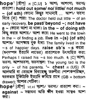 Bangla Meaning of Hope