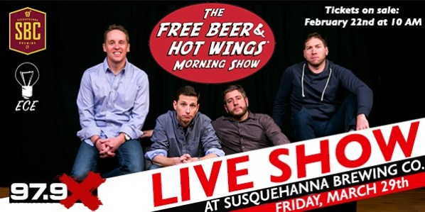 Free Beer and Hot Wings Live in Wilkes Barre, PA With 97.9X